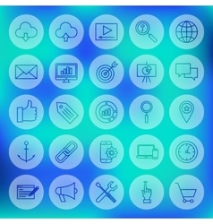 Line circle web development icons vector