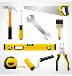 Realistic carpenter tools icons collection vector