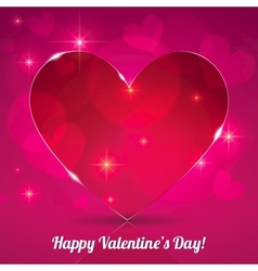 Red thin shining glass heart on lights background vector image