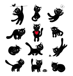 Set of silhouettes happy cats vector image