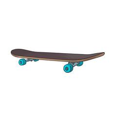 black 90s style skateboard sketch vector image