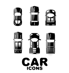 Black glossy car icon set vector image