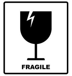 Breakable or fragile material packaging symbol vector image