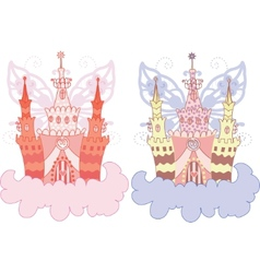 cartoon fairy castle set vector image