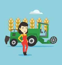 farmer standing with combine on background vector image vector image