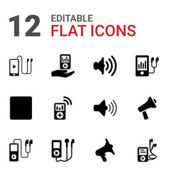 12 mp3 icons vector image