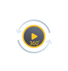 360 degrees video play icon label vector