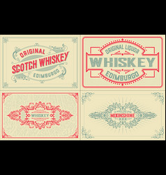 4 old labels for packing vector