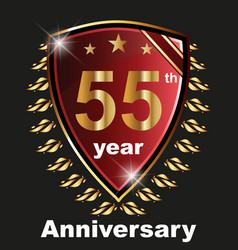 anniversary 55 th label with ribbon vector image