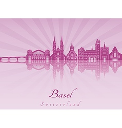 Basel skyline in purple radiant orchid vector image