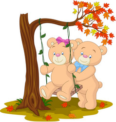 Bear couple in love sitting on a swing under a tre vector