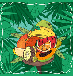 big pile of different tropical fruits vector image