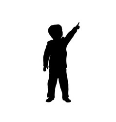 black silhouette of little boy pointing to sky vector image
