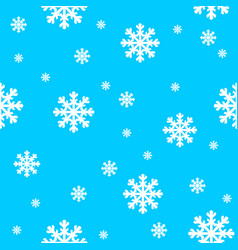 blue background with white snowflakes vector image