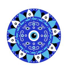 blue mandala evil eye greek amulet against evil vector image