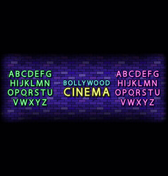 bollywood cinema neon lettering vector image