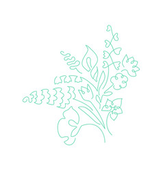 Bouquet made of continuous lines flowers vector