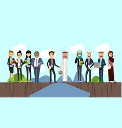 Businessman in business suit shaking hands arabic vector