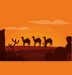 Camels walking on desert silhouette vector