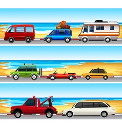 Cars parked on the road vector