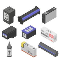 Cartridge icons set isometric style vector