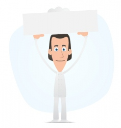chef holds over a banner vector image