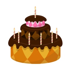 Chocolate cake with burning candles vector image
