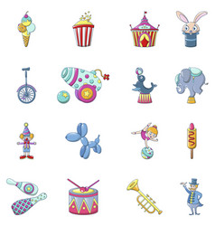 circus fun show icons set cartoon style vector image