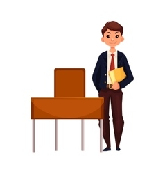 Clever school boy sitting at the desk with open vector