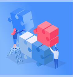 colleagues teamwork partnership isometric vector image