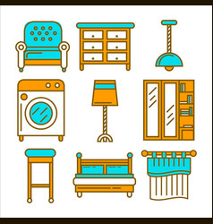 colorful cartoon furniture isolated flat vector image