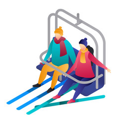 Couple in a cable car icon isometric style vector