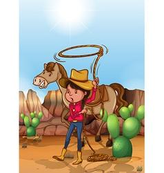 Cowgirl with lassoo in desert vector