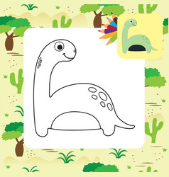 cute cartoon dino coloring page vector image