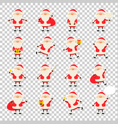 cute santa claus paper sticker icon set in vector image
