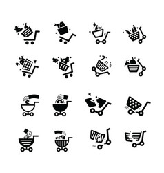damage shopping cart and hand icons vector image