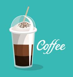 Delicious coffee iced beverage vector