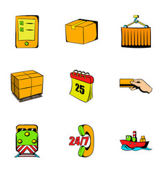 Delivery icons set cartoon style vector
