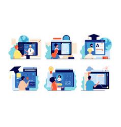 distance school internet education online vector image