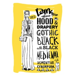 Doodle set dark fashion look vector image