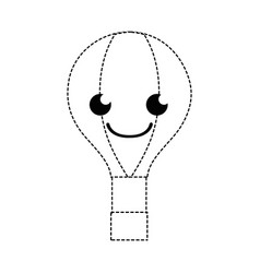 Dotted shape happy air balloon kawaii cartoon vector