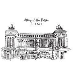 Drawing sketch altar fatherland in rome vector