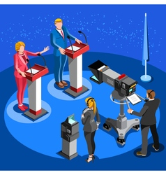 Election news infographic live stream isometric vector