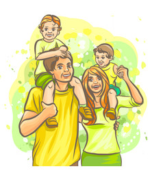 family graphic hand-drawn color comic strip vector image