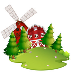 farm scene with barn and windmill vector image