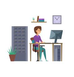 female programmer it developer character vector image