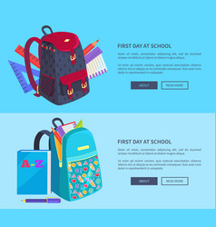 first day at school poster with schoolbag and book vector image