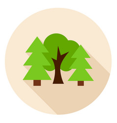 forest trees circle icon vector image