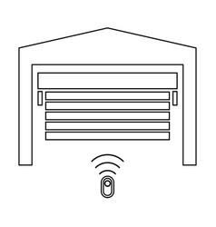 Garage door the black color icon vector