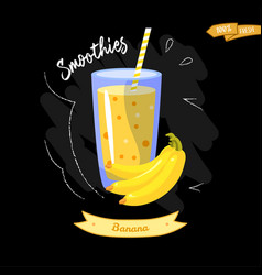glass of smoothies on black background banana vector image